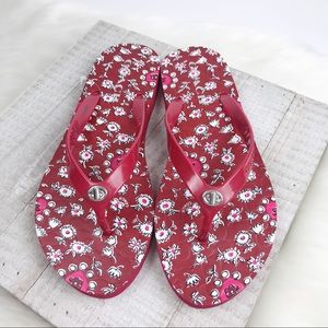 Coach Shoes - NEW COACH Red Embossed Abbigail Flip Flops
